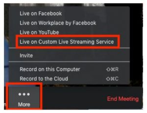 live streaming cutom zoom to youtube