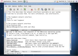 emacs linux text editor